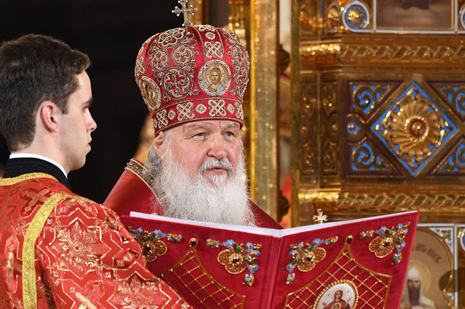 Патриарх Московский и всея Руси Кирилл на праздничном пасхальном богослужении в храме Христа Спасителя, 28 апреля 2019 года