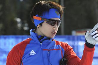 Ольга Медведцева во время тренировки на олимпийском стадионе в Уистлере, 2010 год