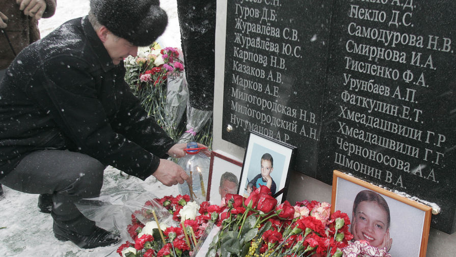Мемориал и цветы на месте обрушения в «Трансвааль-парке» в годовщину трагедии, 14 февраля 2005 года