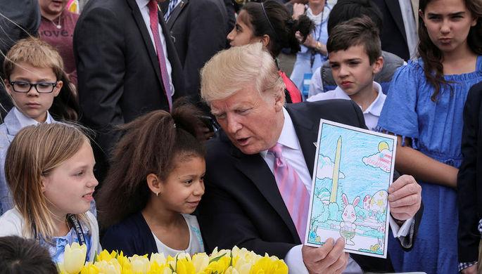 Президент США Дональд Трамп во время пасхального представления в Белом доме, апрель 2019 года
