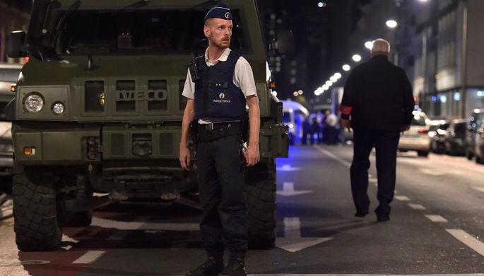 Полиция на месте нападения на военнослужащих в Брюсселе, 25 августа 2017 года