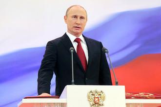 Избранный президент России Владимир Путин на церемонии инаугурации в Андреевском зале Большого Кремлевского дворца, 7 мая 2012 года