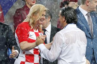 Президент Хорватии Колинда Грабар-Китарович и главный тренер сборной Златко Далич