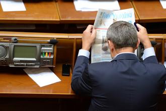 Депутат на заседании Верховной Рады Украины, 2014 год