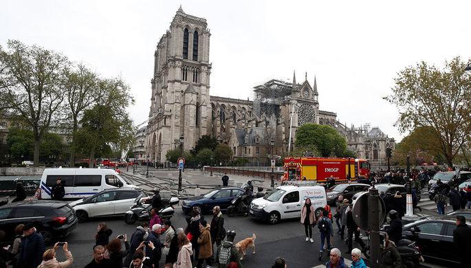 Последствия пожара в соборе Нотр-Дам-де-Пари в Париже, 16 апреля 2019 года