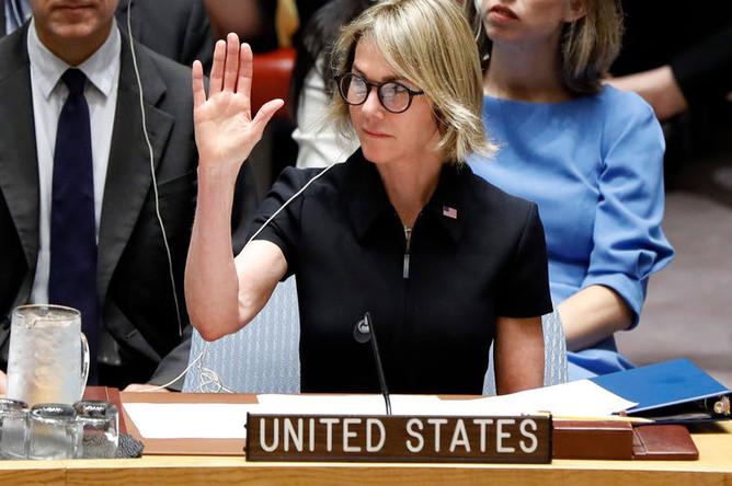 Постпред США при ООН Келли Крафт во время заседания Совбеза ООН в Нью-Йорке, 12 сентября 2019 года
