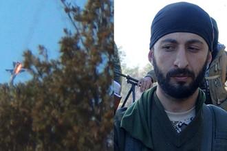 Фото сбитого турецкими ВВС в сирийской провинции Латакия на границе с Турцией российского бомбардировщика Су-24М (слева) и Альпарслан Челик (справа)