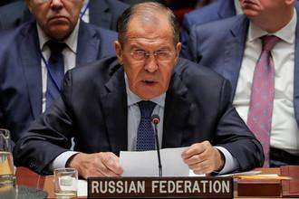 Глава МИД России Сергей Лавров во время встречи Совбеза ООН в рамках 73-й Генассамблеи организации в Нью-Йорке, 27 сентября 2018 года