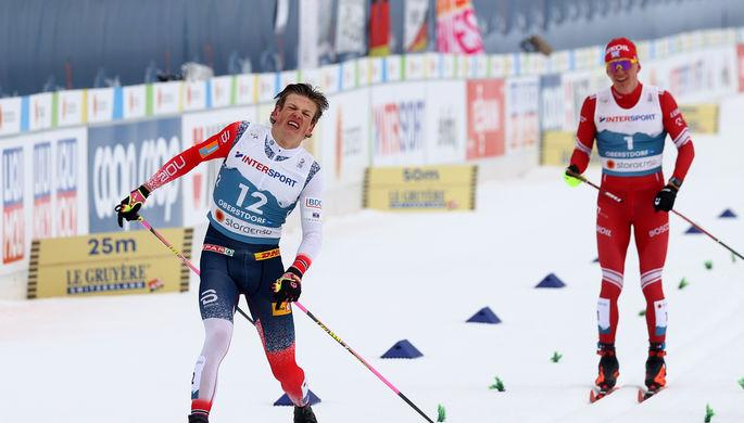 Лыжники Йоханнес Клебо и Александр Большунов