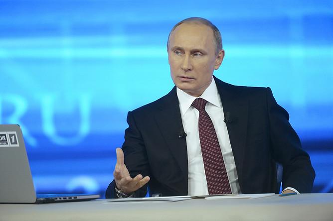 Владимир Путин отвечает на вопросы россиян в ежегодной специальной программе «Прямая линия с Владимиром Путиным»