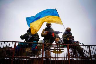 Украинские военные в окрестностях Дебальцево