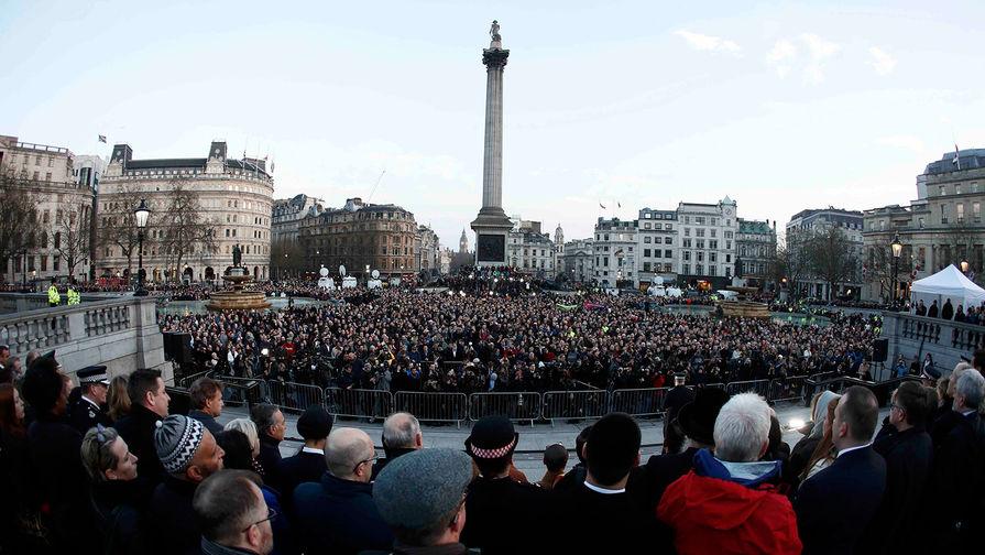 Акция памяти на Трафальгарской площади в Лондоне, 23 марта 2017 года