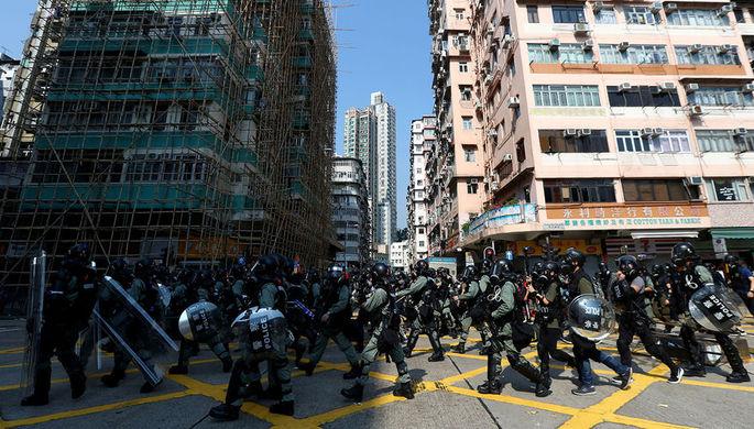 Во время протестов в Гонконге, 1 октября 2019 года