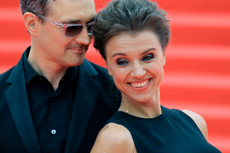 Егор Бероев и Ксения Алферова на церемонии открытия 37-го Московского международного кинофестиваля, 2015 год