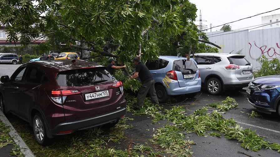 Мужчины устраняют последствия урагана на Лесном переулке во Владивостоке, 3 сентября 2020 года