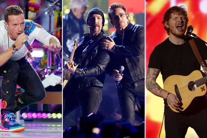 Крис Мартин (Coldplay), Боно (U2) и Эд Ширан