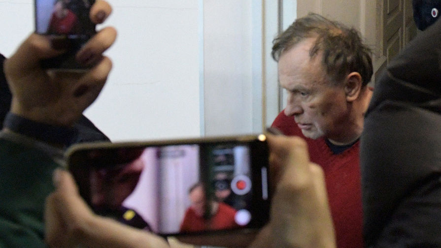 Доцент Санкт-Петербургского государственного университета (СПбГУ) Олег Соколов, подозреваемый в убийстве аспирантки, на заседании Октябрьского районного суда Санкт-Петербурга, 11 ноября 2019 года