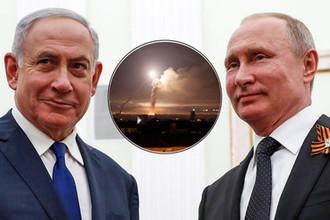 9 мая 2018 года. Премьер-министр Израиля Биньямин Нетаньяху и президент России Владимир Путин во время встречи в Кремле и ракетный удар в Дамаске, 10 мая 2018 года