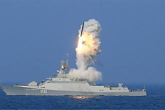 Пуск ракеты комплекса «Калибр-НК» с МРК «Град Свияжск»