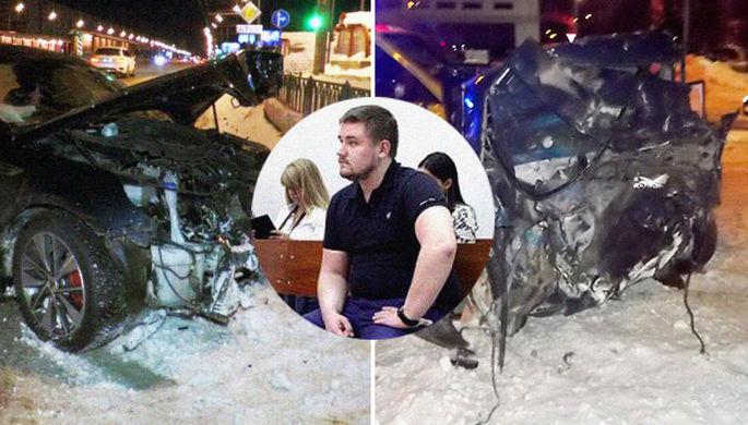 Кадры с места аварии и Сергей Мельников на заседании суда 18 июня 2018 года, коллаж «Газеты.Ru»