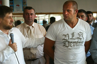 Президент Чечни Рамзан Кадыров и российский борец Федор Емельяненко