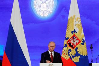 Президент России Владимир Путин в Большом Кремлевском дворце на торжественном приеме в честь Дня народного единства