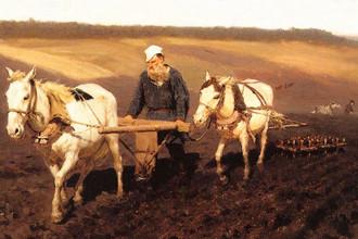 И.Е. Репин. «Пахарь Л.Н. Толстой на пашне». 1887 г.