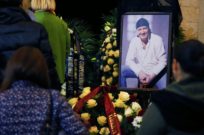 Церемония прощания с актером Дмитрием Марьяновым в Доме кино в Москве, 18 октября 2017 года