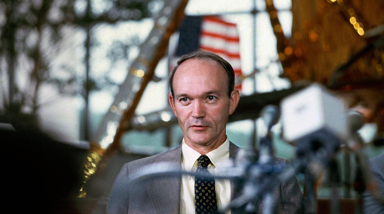 Майкл Коллинз на пресс-конференции, 1979 год