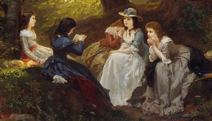 Чтение романа Гёте «Страдания юного Вертера», 1870