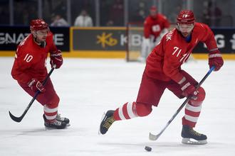 Хоккеисты сборной России Сергй Мозякин (слева) и Илья Ковальчук