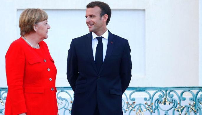 Канцлер Германии Ангела Меркель и президент Франции Эммануэль Макрон, 19 июня 2018 года