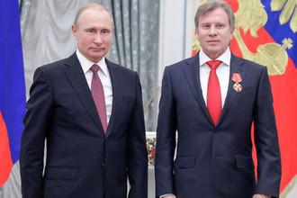 Президент России Владимир Путин и генеральный директор «Аэрофлота» Виталий Савельев в Кремле, 27 июня 2018 года