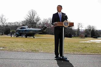 Президент США Барак Обама во время выступления с заявлением по ситуации на Украине