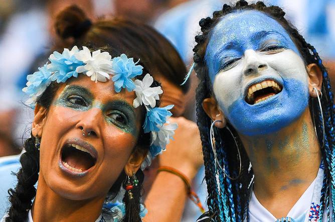 Болельщицы сборной Аргентины в матче группового этапа чемпионата мира по футболу между сборными Нигерии и Аргентины, 26 июня 2018 года