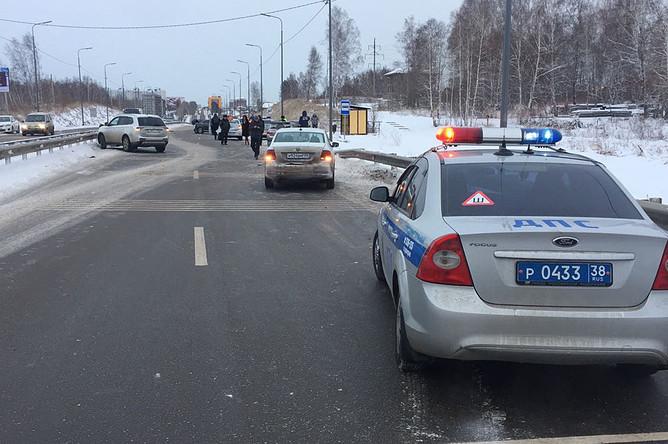 Последствия нескольких аварий на Байкальском тракте под Иркутском, 30 ноября 2017 года