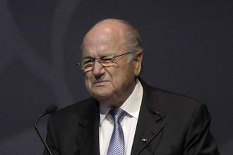 Президент ФИФА Зепп Блаттер на 62-м конгрессе организации