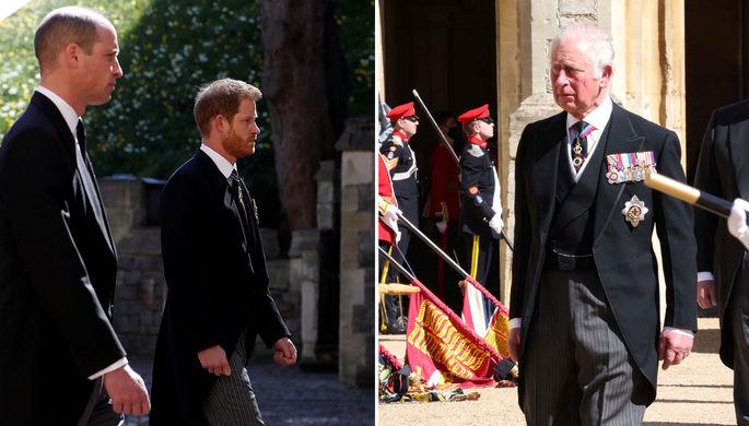 Принц Уильям и принц Гарри (слева) и принц Чарльз в день похорон принца Филиппа, 17 апреля 2021 года