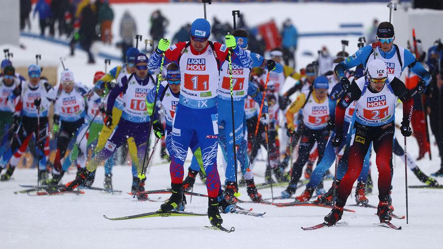 Спортсмены смешанной эстафеты на чемпионате мира по биатлону в словенской Поклюке, 10 февраля 2021 года
