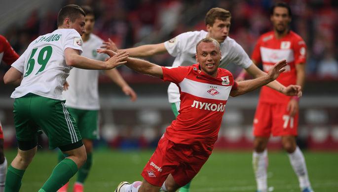 Единственный мяч в ворота «Томи» «Спартак» забил с пенальти, назначенного за снос в штрафной Дениса Глушакова