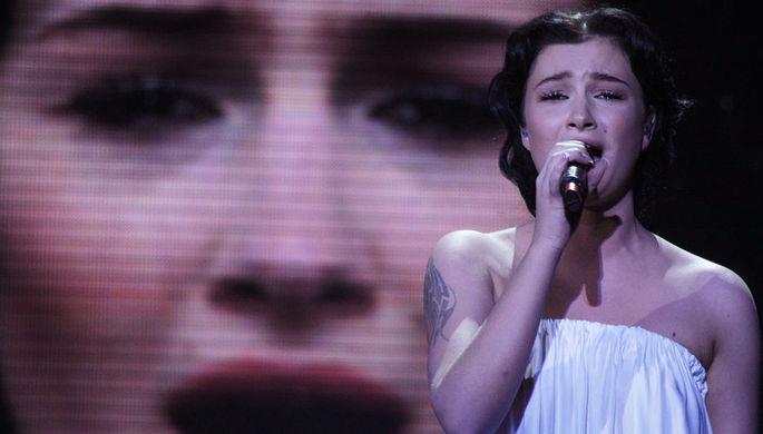 Анастасия Приходько во время выступления в финале конкурса «Евровидение-2009» в СК...