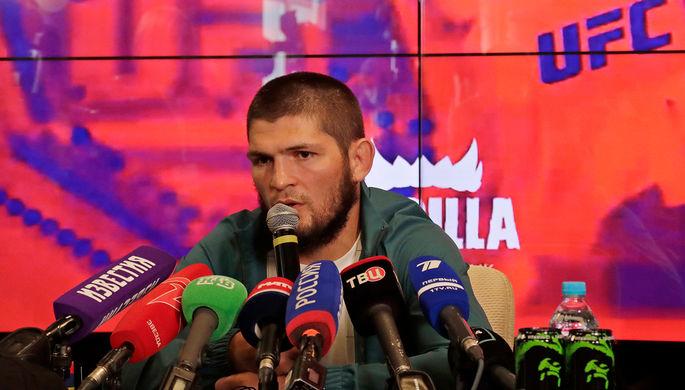 Хабиб Нурмагомедов во время пресс-конференции, 14 августа 2020 года