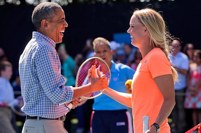 Барак Обама и датская теннисистка Каролин Возняцки