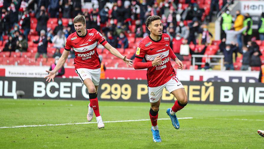 Игроки «Спартака» празднуют гол в матче с ЦСКА