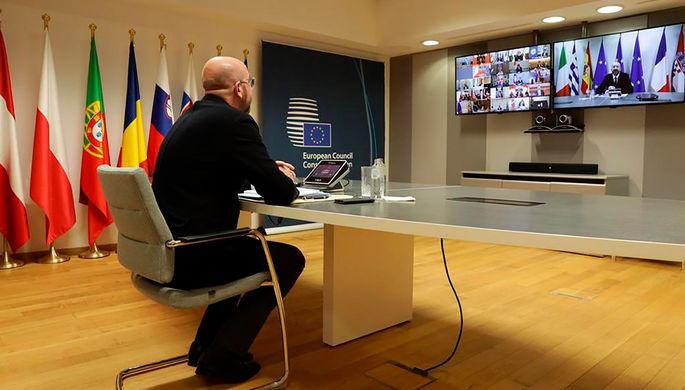 Председатель Европейского совета Шарль Мишель во время виртуального саммита G20, 26 марта 2020 года