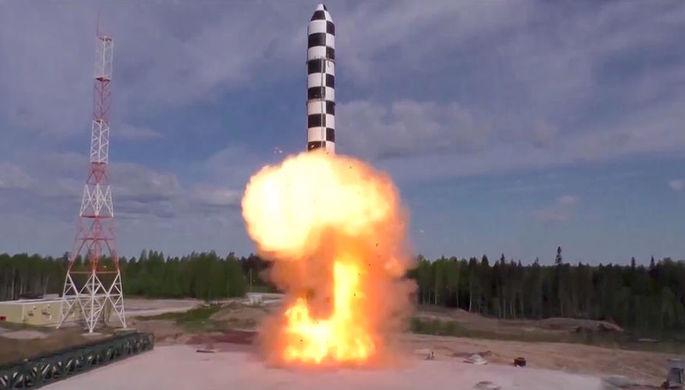 Испытание баллистической ракеты «Сармат». Скриншот видео, предоставленного Минобороны РФ