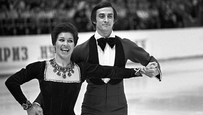 Советские фигуристы, олимпийские чемпионы в танцах на льду Людмила Пахомова и Александр Горшков, 1976 год