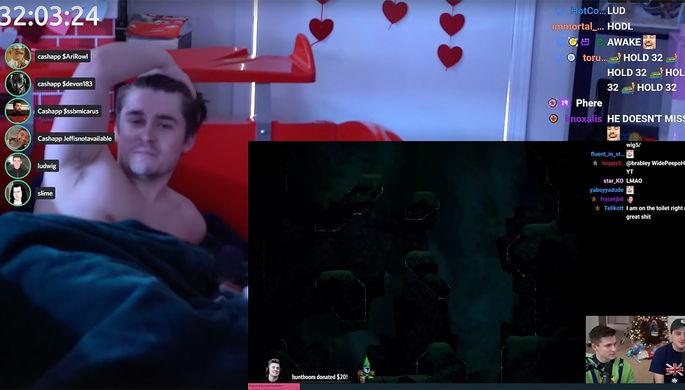 Людвиг 'Ludwig' Агрен во время своего «бесконечного» стрима (кадр из видео)