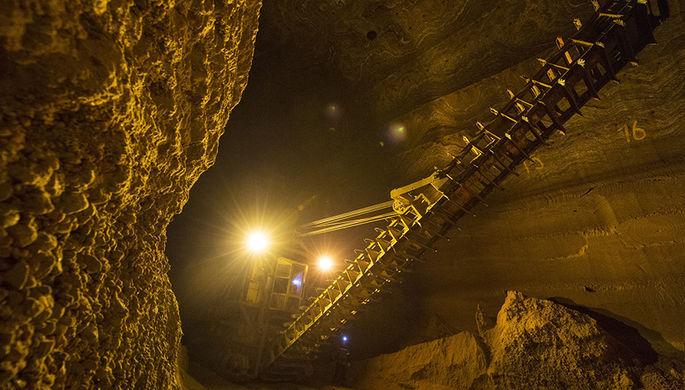Единственный в своем роде подземный склад добытой сильвинитовой (калийной) руды в шахте...