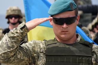 Военнослужащий армии Украины на открытии военных учений «Достойный партнер» в Грузии, август 2018 года